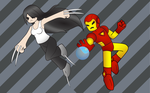 Iron Man and X-23 by atomiksprout