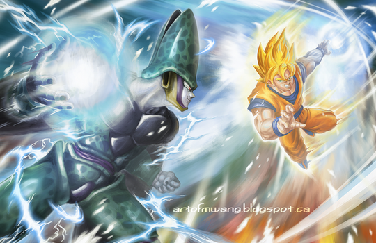 Goku vs. Cell by MikaelWang