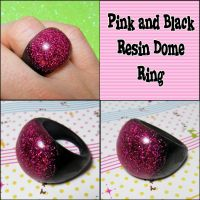 Pink and Black Resin Dome Ring by bapity88
