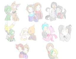 OC Couples ( And Final Picture for 2015) by SparkyChan23