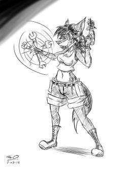 Lupita and her Tools -Lineart w Quick Hatching- by Django90