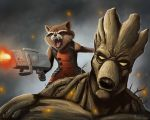 Rocket and Groot by mylesmw