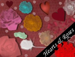 Hearts And Roses Brushes by emmaalvarez
