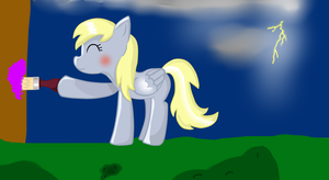 Derpy Hooves painting her house :D by Rainbowcategirl