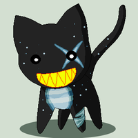 Black and Blue Evil Cat by GrimTuesday18