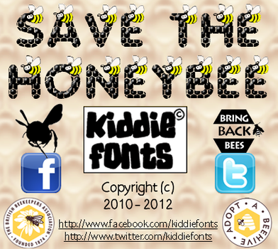 SAVE THE HONEYBEE font by Kiddiefonts