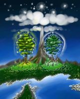The two Trees of Valinor by Abhorash