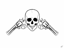 Guns and Skull by BigEvilGorilla