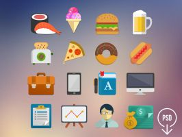 Free Flat Icons - PSD by junoteamvn