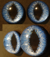 4cm 3d Deep Blue Feline eyes by DreamVisionCreations