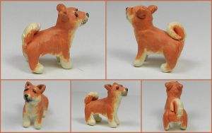 Little Shiba Inu Sculpture by LeiliaClay