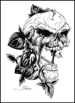 Skull with Roses by ZascaAwakening