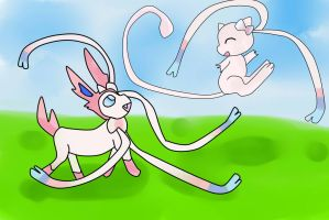 Mew And Sylveon by FriezaMangas