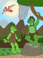 Iguana Twins, Green and Lime by MCsaurus