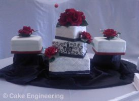 Fleur de lis and roses cake by cake-engineering