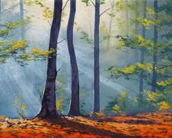 Forest Sunlight Painting by artsaus