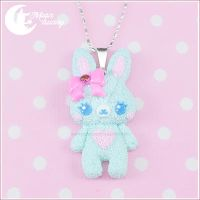 Marshmallow bunny (blue) Neklace by CuteMoonbunny