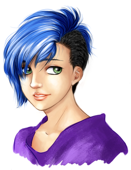 blue hair by aroa678