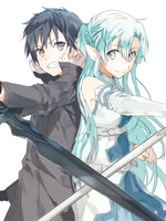 Handdrawn Kirito and Asuna by empyreanrush3r