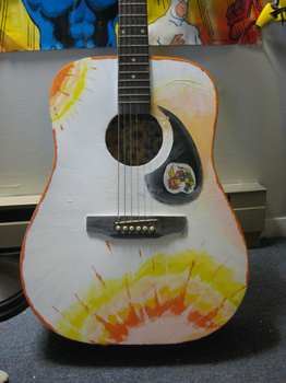 guitar painting sunflowers by not-fun