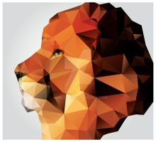 Geometric polygon lion head, profile by BlueLela