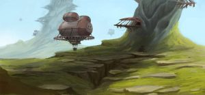 Airship village by McIdea