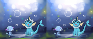 Vaporeon and Wooper 3d by CJsux