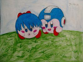 Me and Mega as Kirbys!~ ^_^ by knucklesmega