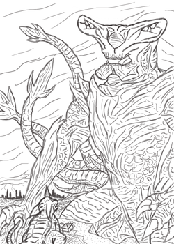 Slattern VS Baragon WIP by SheegothHunter