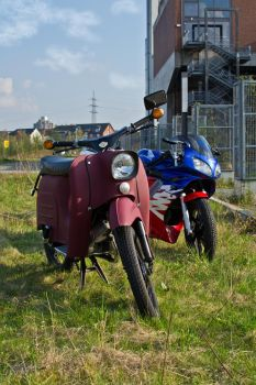 Simson Schwalbe and Honda NSR 125 R by Wybi