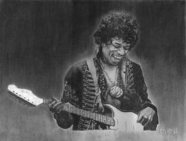 Jimi Hendrix Charcoal by ryanmcairns