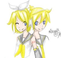 Kagamine Twins by Mistwalk