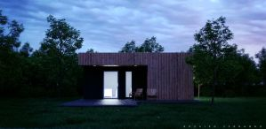 exterior evening rendering by Rozairo