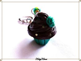Choco Mint Cupcake Keychain by Cateaclysmic