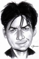 Charlie Sheen  caricature by Spomo-U