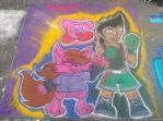 Street doodle - Mac, Kitty, and Kirby by ChibiKirbylover
