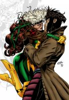 Rogue and Gambit inks by Styles1975 by carol-colors