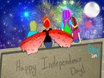 Happy Independence Day! without face on moon by SkystrikeFlame