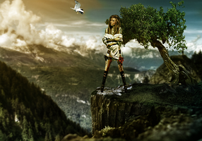 Girl on a cliff by DesignFlash