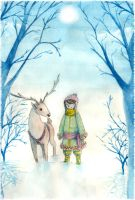 snow and deer by Kler-z