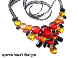 Fire Rhinestone Necklace by Natalie526