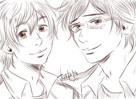Even more sketchy sketch: Nagisa and Rei by AkariMarco
