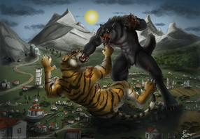 Combat of Creatures - Commission by KeksWolf