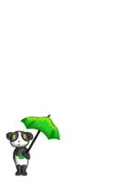 Panda With Green Umbrella by SkyHighFae