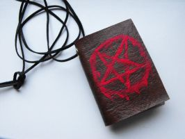 Satan book necklace by RoseOfTheFlames