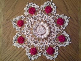 Christmas Rose Doily by koepr5333