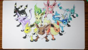 Custom Playmat: Pokemon Eeveelution by ccayco