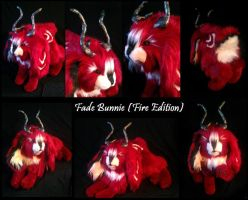 Fade Bunnie (Fire Edition) Poseable Art Doll by WhisperingWoodCrafts