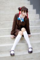 Miaka sitting on the stairs by white---butterfly