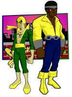 Ironfist and powerman colored by dicreilly
